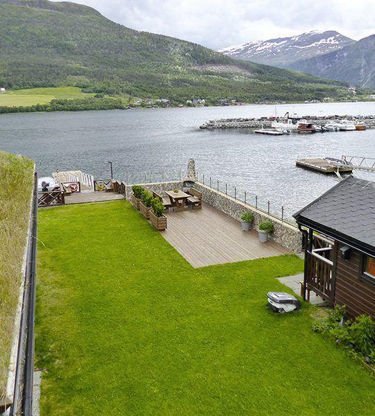 Angelreisen Norwegen 41892 Solstrand Fjord Holiday Terrassenblick
