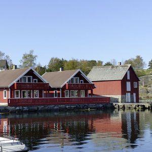 Angelreisen Norwegen 40601-40602 Hebnes Ansicht Haus Wasserseite