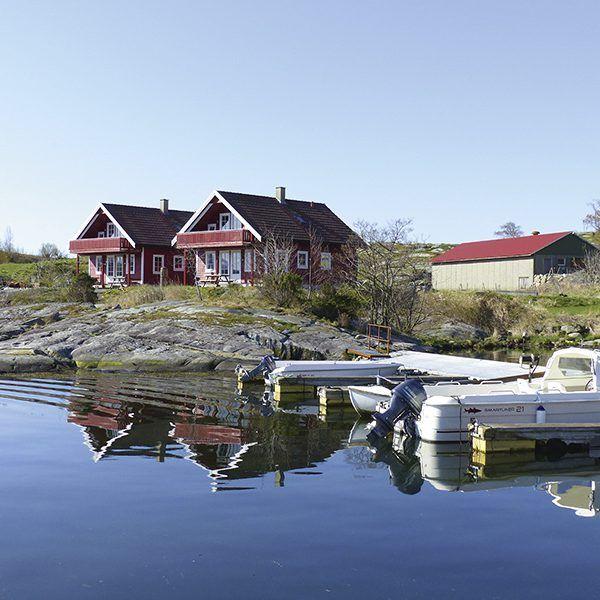 Angelreisen Norwegen 40603-604 Hebnes Ansicht Haus_Wasserseite