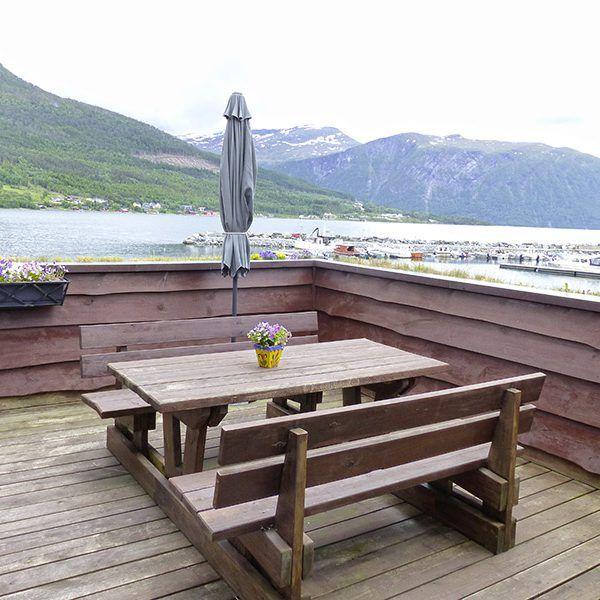 Angelreisen Norwegen 41891 Solstrand Fjord Holiday Dachterrasse
