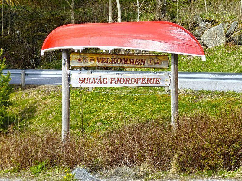Angelreisen Norwegen 40531-555 Solvåg Fjordferie Schild