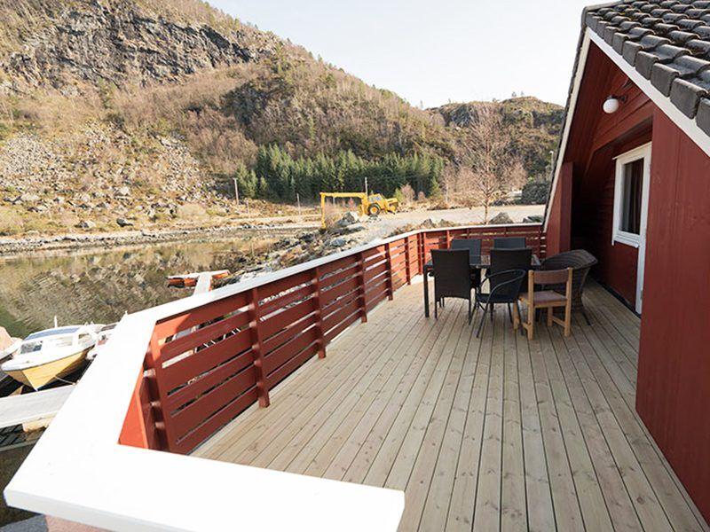 Angelreisen Norwegen 41494 Skottneset Feriesenter Terrasse