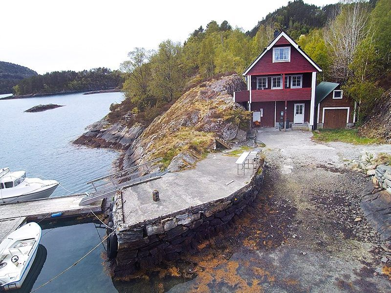 Angelreisen Norwegen 41351 Austgulen Fjordhytter Drohnenansicht