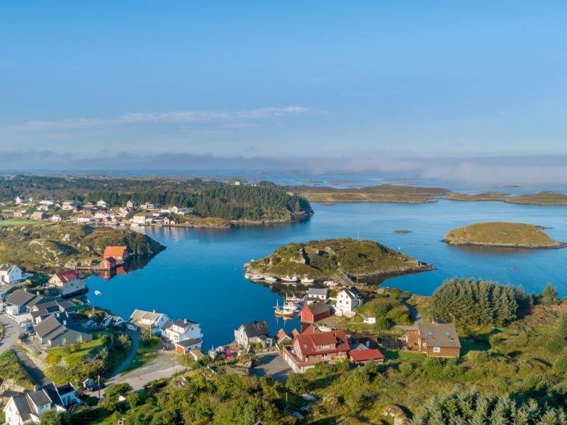 Angelreisen Norwegen 40700 Ferienhaus Karmøy Luftbild Inseln