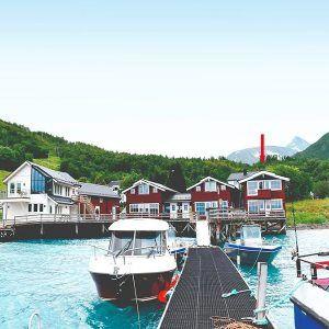 Angelreisen Norwegen 43563-43564 Koppangen Brygger Ansicht vom Wasser