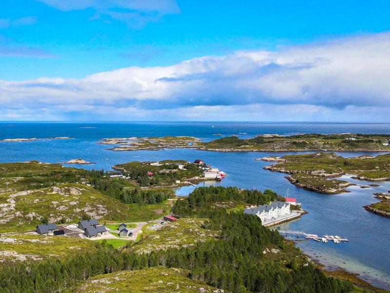 Angelreisen Norwegen 41951-41963 Gaupsundet Feriehytter Luftaufnahme
